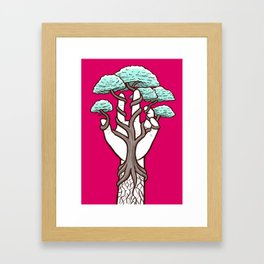 Tree growing within a hand – interlacing of nature and humanity Framed Art Print