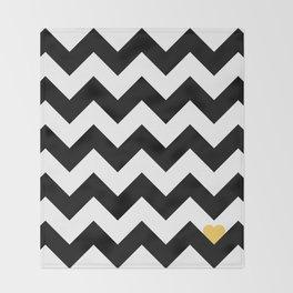 Heart & Chevron - Black/Yellow Throw Blanket