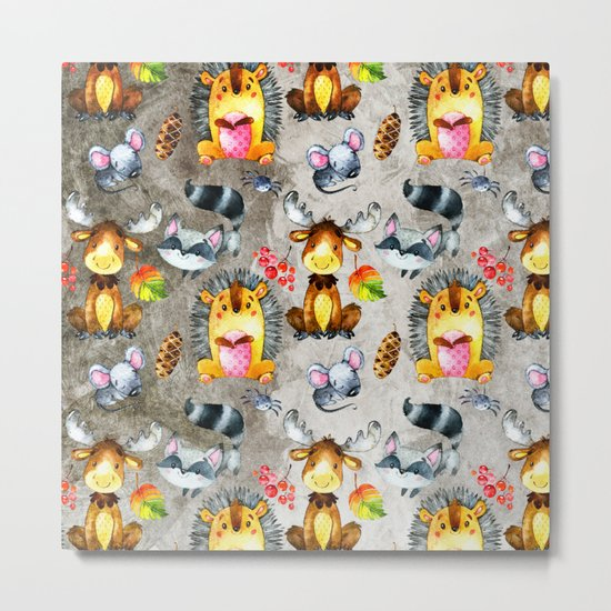 Woodland Animal Friends in forest -pattern for children Metal Print