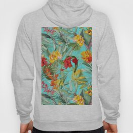 Vintage & Shabby Chic - Colorful Tropical Blue Garden Hoody