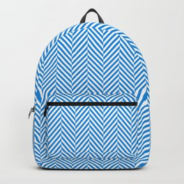 Small Pale Blue & White Herringbone Pattern Backpack