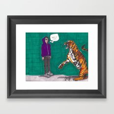 Fighting a tiger before it was cool Framed Art Print