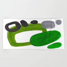 Mid Century Vintage 70's Design Abstract Minimalist Colorful Pop Art Olive Green Dark Green Grey Beach Towel