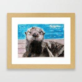 My Otter painting by Karen Chapman Framed Art Print