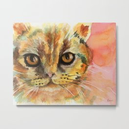 Watercolor Cat 02 Army Cat Metal Print