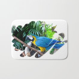 Blue Yellow Macaw. Parrot Bath Mat