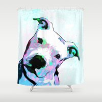 pit bull Shower Curtains featuring Pit bull - Puzzled - Pop Art by William Cuccio aka WCSmack