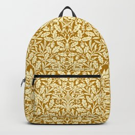 Art Nouveau Floral Damask, Mustard Yellow Backpack