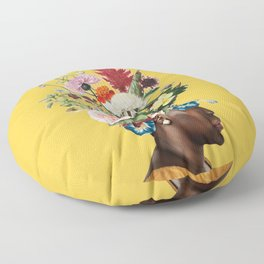 Flower Power- Bright Yellow Floor Pillow