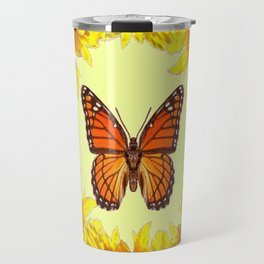 Monarch Butterfly Creany Yellow Sunflower Circle Travel Mug
