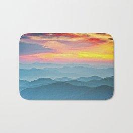 Mountain Range Sunset Bath Mat