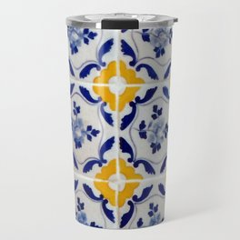 Blue and yellow tile Travel Mug