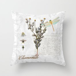 Chamomile Herb, Dragonfly Bumble Bee Botanical painting, Cottage style Throw Pillow