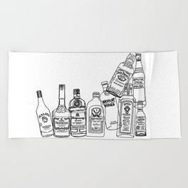 Alcohol Bottles (White) Beach Towel