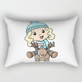 Girl On A Deer Rectangular Pillow