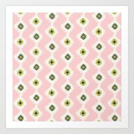 Pink Geo Ikat Art Print