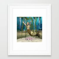 the little mermaid Framed Art Prints featuring Little Mermaid by Design Windmill
