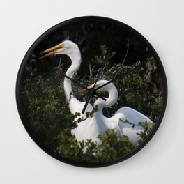 Egret Nest with Chicks in Rookery Wall Clock