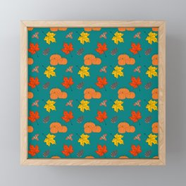Autumn Leaves and Pumpkins Fall Illustration Pattern Framed Mini Art Print