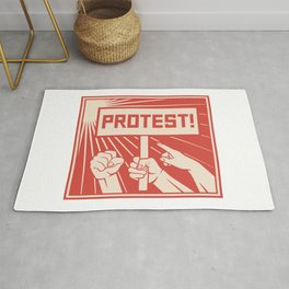 protest design - lots of furious people (man holding transparent, demonstrations) Rug