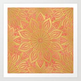 Gold and Coral Flower Mandala Art Print
