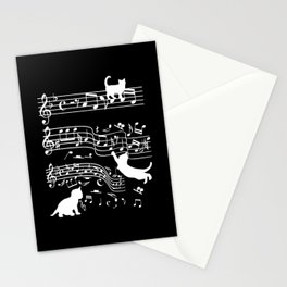 Cat Musician Funny cats music Clef Gift Stationery Cards