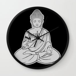Sitting Buddha is blessing on blissful meditation Wall Clock