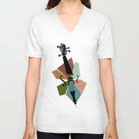 cello V-neck T-shirts featuring Bach - Cello Suites by Prelude Posters