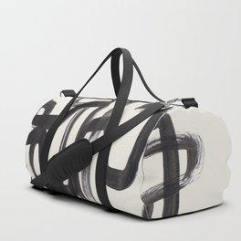 Mid Century Modern Minimalist Abstract Art Brush Strokes Black & White Ink Art Pipe Maze Duffle Bag