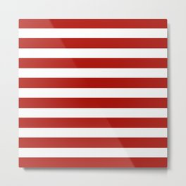 Red & White Maritime Stripes- Mix & Match with Simplicity of Life Metal Print
