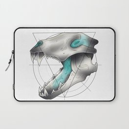 Blue Flame Wolf Skull Laptop Sleeve