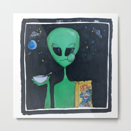 Breakfast in Space Metal Print