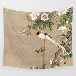 Flowers and Birds II Wall Tapestry