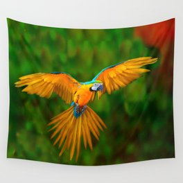 Flying Golden Blue Macaw Parrot Green  Art Wall Tapestry
