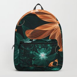 Alluring Turquoise and Orange Tiger Lily Flower Backpack