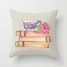 Tea And Books Throw Pillow