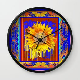 Golden Sunflower Drips & Butterfly  in Blue, Coral pink  & Brown Pattern Abstract Wall Clock