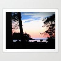 Pink Skies at Night - Deception Pass State Park, Whidbey Island, WA Art Print