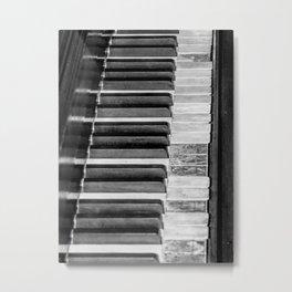 Black & White Piano Metal Print