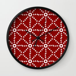 Triangle Pattern In Red and White Wall Clock