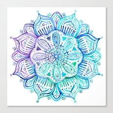 Iridescent Aqua and Purple Watercolor Mandala Canvas Print