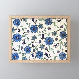 Blue and purple floral design Framed Mini Art Print