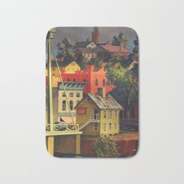 New England Town on the Two Rivers with Bridge landscape painting by Peter Blume Bath Mat