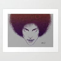 Prince with Paisley Afro Art Print