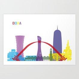Doha skyline pop Art Print