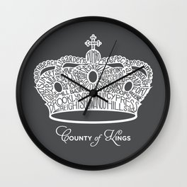 County of Kings | Brooklyn NYC Crown (WHITE) Wall Clock
