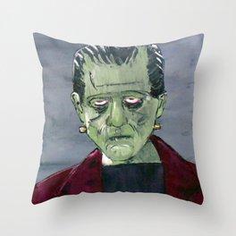 Frankenstein's monster hides in my garage Throw Pillow