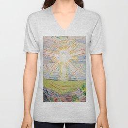 """Edvard Munch """"The Sun"""", 1910–11 Unisex V-Neck"""