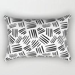 Abstract black white watercolor brushstrokes motif Rectangular Pillow