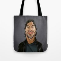 celebrity Tote Bags featuring Celebrity Sunday ~ Javier Bardem by rob art   illustration